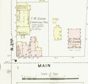 An 1896 Sanborn map shows the site of the Manwaring Carriage business in the left bottom corner at Main and Second streets.