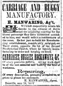 A thank-you advertisement from the Manwaring Carriage Company published May 18, 1860.