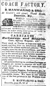 An advertisement on June 18, 1857, shows information about the Carriage Company.