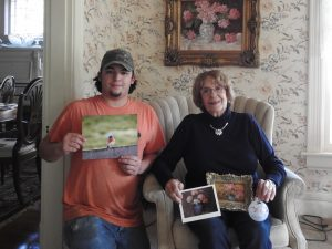 Photo contributed Gavin Mahon and Tillie Sowders hold some of their work which they will exhibit together this weekend during the Gallery Hop.