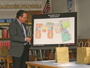 Kendra Peek/kendra.peek@amnews.com Tony Thomas, with ClotfelterSamokar, presented on the schematic site design of the new Boyle County Middle School, which the Boyle County Board of Education approved.