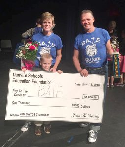 Sheri Satterly and Stoney Kissick won the Dancing with the Danville Stars and was awarded $1,000 to go to Bate Middle School student and teacher appreciation.