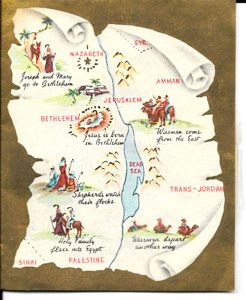 A map of the journey where Mary and Joseph traveled showing the place where Jesus was born in Bethlehem.