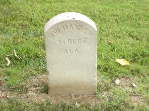 A white tombstone for H.W. Hayden, who served with the 45th Regiment of Alabama, is among graves in Bellevue Cemetery. He died October 9, 1862.