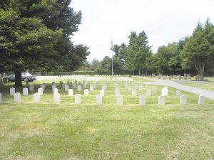 White tombstones in Bellevue Cemetery mark graves of soldiers who died near Danville during the Civil War.