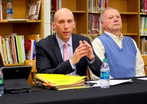 (Ben Kleppinger/ben.kleppinger@amnews.com) Boyle County Superintendent Mike LaFavers speaks during a board of education meeting Thursday night.