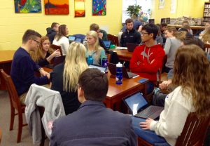Kendra Peek/kendra.peek@amnews.com Students in a committee discuss a bill.