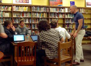 Kendra Peek/kendra.peek@amnews.com Boyle County Teacher Ryan New talks to students in a committee.