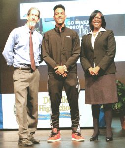 Photo by Dora Swann. Dr. Keith Look (Danville Superintendent) and DHS junior David Walker pose for a photo with Kentucky Lieutenant Governor Jenean Hampton, who addressed DHS in an assembly January 12.