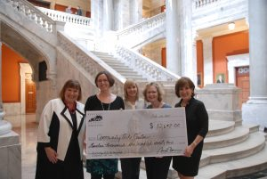 Photo contributed On Feb. 24, arts leaders came from across the Commonwealth to celebrate the public value of the arts and to thank legislators for their continued support of the Kentucky Arts Council. Checks were presented to organizations awarded Kentucky Arts Partnership operational support grants by the arts council in July 2016, including the Community Arts Center. Pictured, from left, are Lydia Bailey Brown, KAC executive director; Kate Snyder, CAC director for marketing and development; Regina Stivers, Tourism, Arts and Heritage Cabinet deputy secretary; Mary Beth Touchstone, CAC executive director; and Mary Michael Corbett, arts council board chair.