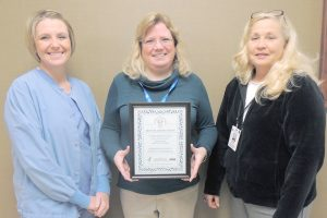 pictured left to right, Jody Wells, Surgical Department Director, Rhonda Hinkle, Kentucky Organ Donor Affiliates Client Services Coordinator, and Ruth Smith, Administrative Support/HR Specialist.