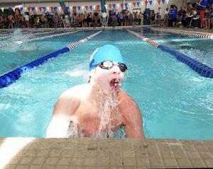 DHS freshman Jaxxyn Wood swims in the boys 200 meter relay at the KHSAA Region 6 swim meet.