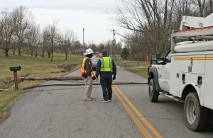 Kendra Peek/kendra.peek@amnews.com Boyle County Fire Chief Donny Sexton speaks with Danville-Boyle County Emergency Management Director Mike Wilder regarding the downed power lines on Alum Springs Road and Alum Springs Cross Pike after a tractor trailer took out four poles, including a transformer.