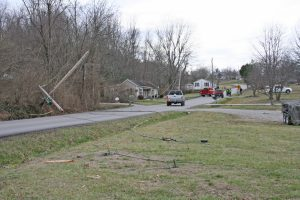 Kendra Peek/kendra.peek@amnews.com A transformer pole was broken on Tuesday by a tractor trailer, which took out a power line and three other poles.