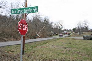 Kendra Peek/kendra.peek@amnews.com Downed power lines on Alum Springs Road and Alum Springs Cross Pike