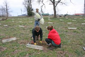 Kendra Peek/kendra.peek@amnews.com Patrick Ferrell, left, and Beka Bruner, right plant a tree while talking to Joshua White, son-in-law to farmer owner ?Nancy Davis and organizer of the event on Saturday.