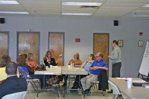 Kendra Peek/kendra.peek@amnews.com Groups speak during the Danville-Boyle County Workforce Development community meeting on Tuesday.