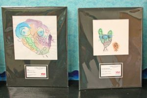 """Kendra Peek/kendra.peek@amnews.com """"Owly"""" and """"The Owl Brothers"""" by Mary and Zachary, part of the VSA traveling art exhibit."""