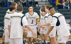 Photo by yearbook staff Imfeld prepares himself mentally as game starters are introduced.