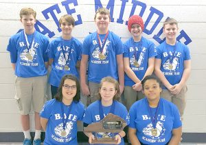 Photo submitted Overall winners from Bate Middle School are, front row, from left, Hank Helmers, Sofie Farmer, and Trinyte Welch Back row from left, Christian Howe, Jack Cusato, Ethan Scott, Ben Haskett, and Luke Gaffney.