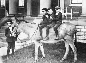 In the early 1900s Charles Fosdick photographed KSD students Ansil Haggard, Roy Hertzman, Paul Webb and Maurice Whitehead with the school burro. She was loved by the little boys and provided fun and entertainment for several generations of students.