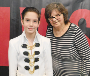 "Jonathan Taber, a.k.a. ""Little Elvis"" from Wilmore, KY, visited with Janice Hacker, Morning Pointe of Danville resident."